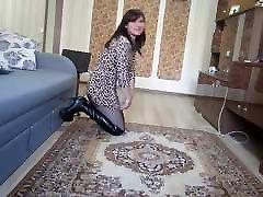 Russian MILF slut dancing in overknee boots and short skirt