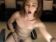 Sexy Shemale Masturbate her Hard Cock on Cam