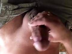 Jerking my big cock for close up cumshot