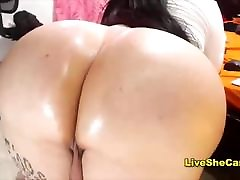Chubby shemale shows big ass big tits
