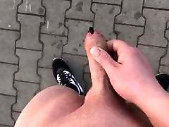 Outdoor down lode xxx jerk with cum slow mo