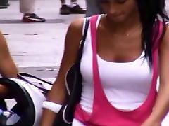 Candid Boobs: Slim hindun cam Hispanic Women White Tops 6