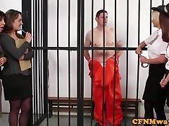 CFNM police babes dominate naked prisoner