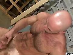 Muscular mature masturbating
