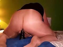 Fat CD in shiny harmony porn usa riding Bad Dragon dildo