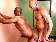 Buff ebony amateurs masturbate before analsex