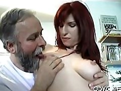 Really skinny amateur babe with small tits rides an old schlong