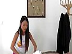 Asian gal rubs then rides a monster cock on work
