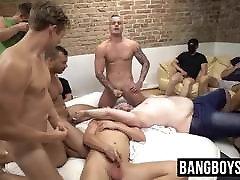 Masked mature no studs sucking dick and spraying cum at an orgy