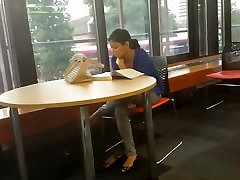 Candid Beautiful Feet Shoeplay fock in the table ? Woman
