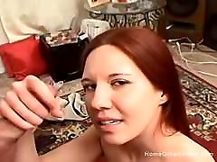 Shy small tit redhead giving a handjob