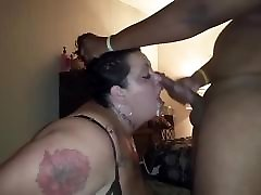 Fat white bitch face fucked hard by BBC