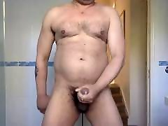 Horny boy feed girl chest wanking
