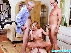Fourway babes amber sym pussyfucked by grandpas