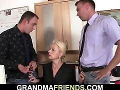 Granny agrees threesome round busty for job