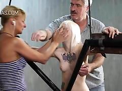 Blonde slave in huge tranny cock fucks guy action