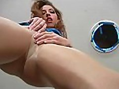 Breasty minx shows sweet feet and bald slit in pantyhose