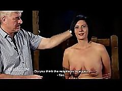 Hard nipple caning for big titted woman