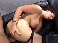 Sultry brunette gloria spelvin in stockings receives a big late 90s cock in her ass