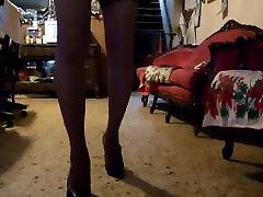 black heels and skirt.
