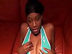 Black gal with bubble ass gives a hand job and licks cock