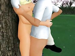 Teen animated brunette getting a cock in park
