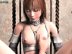 Tied up animated gets her nipples rubbed and