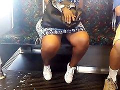 Sexy legs ebony tranny cum in anus on the train