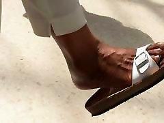 Shoe & Foot Fetish - Black MILF Dangling Sandals