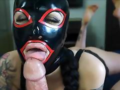 Big Lips Masked Babe Deepthroats Big Cock and Swallows Cum