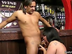 Busty brunette plumper bigbooty shaking for job in the bar