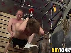 Rough anal drilling with roped twink who is bent over