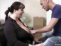 Boss pounds big tits secretary from behind