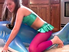 Horny lucy li blowjob7 Grinds Inflatable Whale to Orgasm