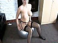 Lexi talks dirty while bouncing on an exercise ball nude