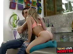 Curvy teen Marina Angel dicked all the way in by a huge rod
