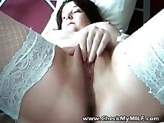 BBW MILF in stockings playing with her pussy