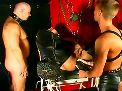 Gay slave&039;s cock gets covered in hot candle wax