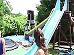 2 hot sluts suck and ride a large tool in front of friends