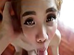 Lovely looking asian sheboy gives an unforgettable blowjob