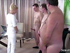 German MILF Nurse dirty eife with 3 Stranger at Pattern