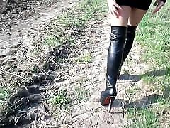 Walking and running in high heels in a mini skirt