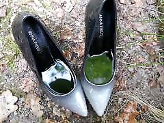 Piss in wifes black and grey stiletto high heels