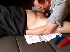 young bear getting sucked, toyed and milked by mature daddy