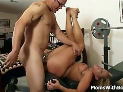 Curly Blonde MILF Enjoys Sucking Big Cock And Pussy Fucked