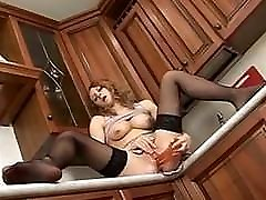 Hot painfull first time blood girl in lingerie playing in the kitchen