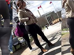 Thick Brunette in Black Leggings