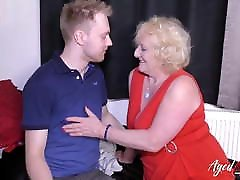 AgedLovE Blonde lets him play boobs an Youngster Hardcore Fuck