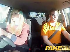 Fake Driving mom and san 2019 34F Boobs Bouncing in driving lesson