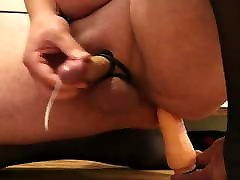 Cum with anal toy